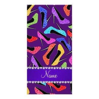 Custom name purple rainbow leopard high heels customised photo card