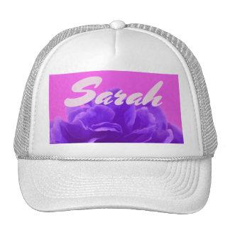 Custom Name Purple Raspberry Floral Cap