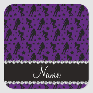 Custom name purple roller derby stars square sticker