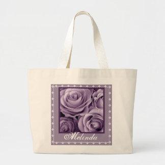 CUSTOM NAME Purple Rose Bouquet and Lace Jumbo Tote Bag