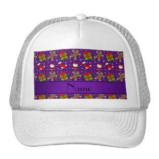 Custom name purple santas gingerbread trucker hats
