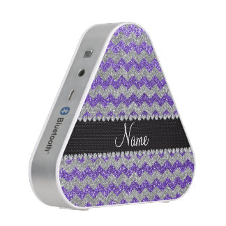 Custom name purple silver glitter chevrons
