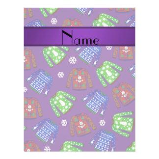 Custom name purple ugly christmas sweater pattern 21.5 cm x 28 cm flyer