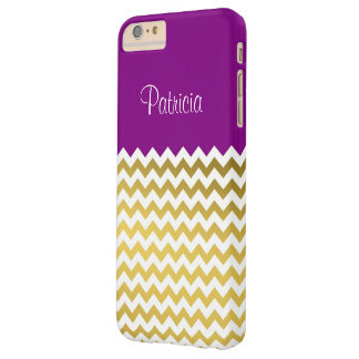 Custom Name Purple Violet, Gold & White Chevron Barely There iPhone 6 Plus Case