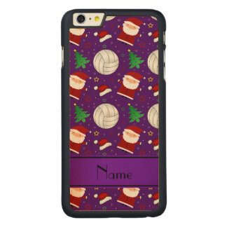 Custom name purple volleyball christmas pattern iPhone 6 plus case