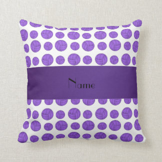 Custom name purple volleyball pattern cushion