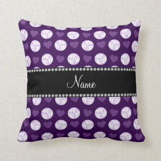 Custom name purple volleyballs and hearts cushion