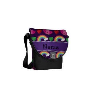 Custom name purple watermelons rainbows hearts messenger bag