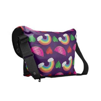 Custom name purple watermelons rainbows hearts messenger bags
