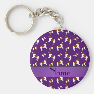 Custom name purple Welsh Springer Spaniel dogs Basic Round Button Key Ring