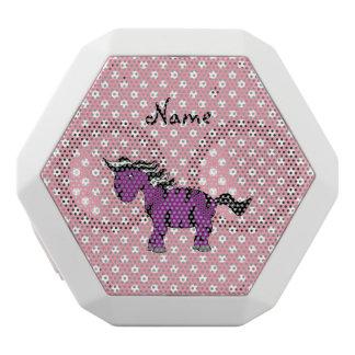 Custom name purple zebra pink white polkadots white boombot rex bluetooth speaker