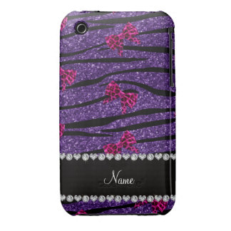 Custom name purple zebra stripes pink bows Case-Mate iPhone 3 cases