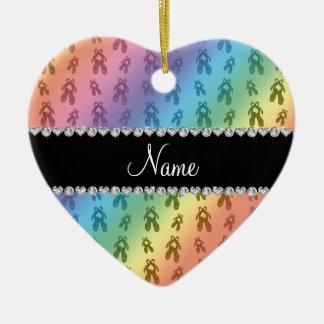 Custom name rainbow ballet shoes christmas ornament