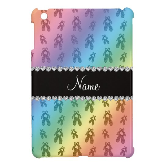 Custom name rainbow ballet shoes iPad mini cover