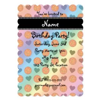 "Custom name rainbow basketballs and hearts 5"" x 7"" invitation card"