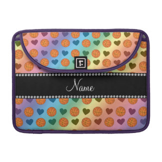 Custom name rainbow basketballs and hearts sleeve for MacBook pro
