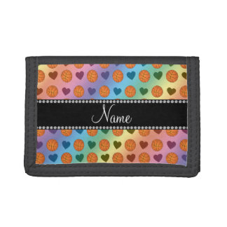 Custom name rainbow basketballs and hearts tri-fold wallets