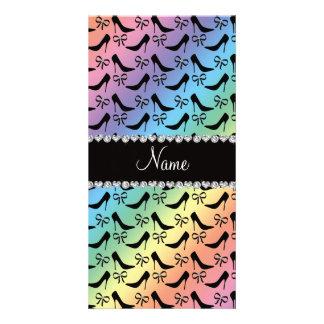 Custom name rainbow black high heels bow diamond photo card template