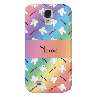 Custom name rainbow brushes and tooth pattern galaxy s4 case