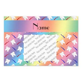 Custom name rainbow brushes and tooth pattern photo print