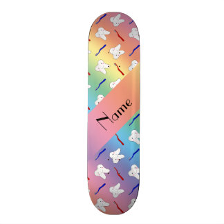Custom name rainbow brushes and tooth pattern skate boards