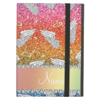Custom name rainbow glitter angel wings case for iPad air
