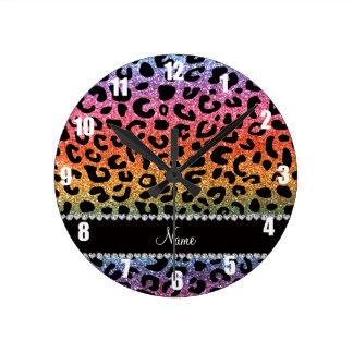 Custom name rainbow glitter cheetah print round clock
