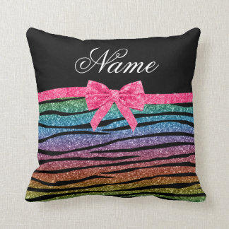 Custom name rainbow glitter zebra stripes bow cushion