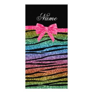 Custom name rainbow glitter zebra stripes bow custom photo card