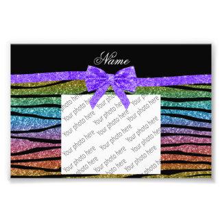 Custom name rainbow glitter zebra stripes bow art photo