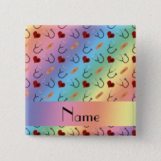 Custom name rainbow stethoscope bandage heart 15 cm square badge