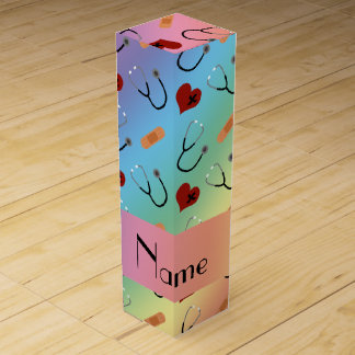 Custom name rainbow stethoscope bandage heart wine box