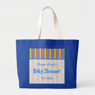 Custom Name. Rainbow Stripes Baby Shower. Bag