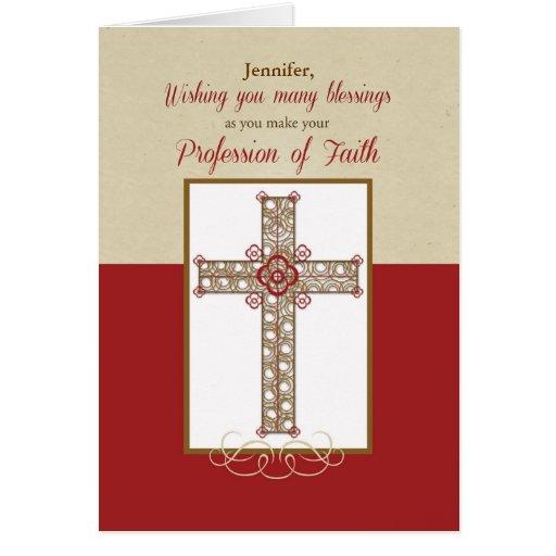 Custom Name, RCIA Blessings on Profession of Faith Card