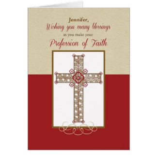 Custom Name, RCIA Blessings on Profession of Faith Greeting Card
