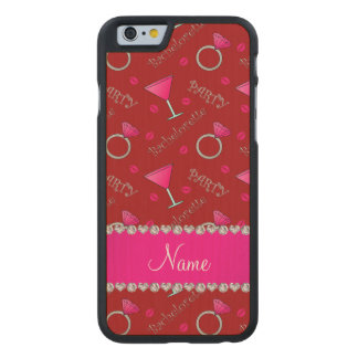 Custom name red bachelorette cocktails rings carved® maple iPhone 6 case