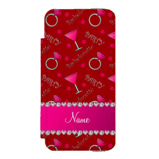 Custom name red bachelorette cocktails rings incipio watson™ iPhone 5 wallet case