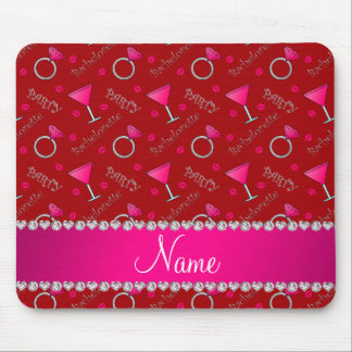 Custom name red bachelorette cocktails rings mouse pad