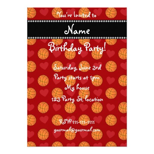 Custom name red basketballs and hearts custom invites