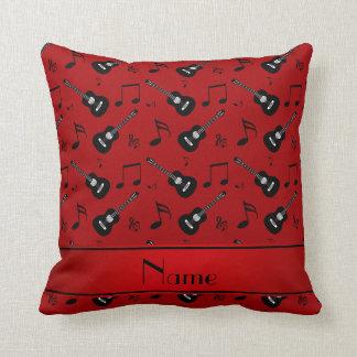 Custom name red black guitars music notes cushion