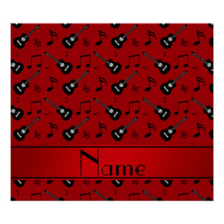 Custom name red black guitars music notes poster
