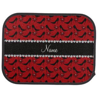 Custom name red black high heels bow diamond floor mat