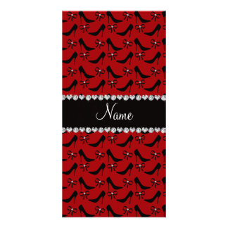Custom name red black high heels bow diamond personalized photo card