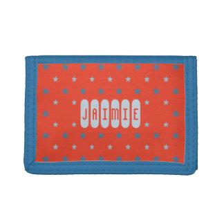 Custom name red blue stars kids trifold wallet