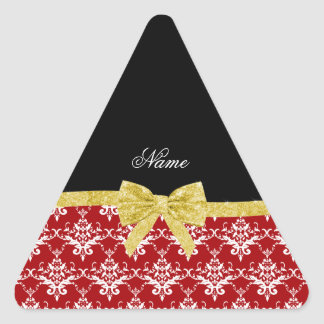 Custom name red damask gold glitter bow triangle stickers