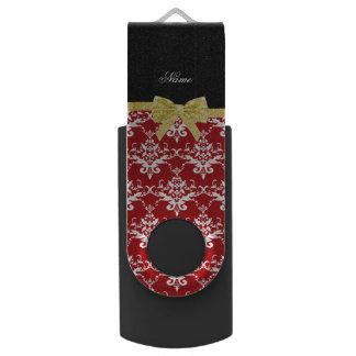 Custom name red damask gold glitter bow swivel USB 2.0 flash drive