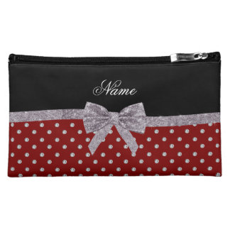 Custom name red diamonds silver glitter bow makeup bags