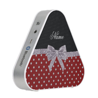 Custom name red diamonds silver glitter bow speaker