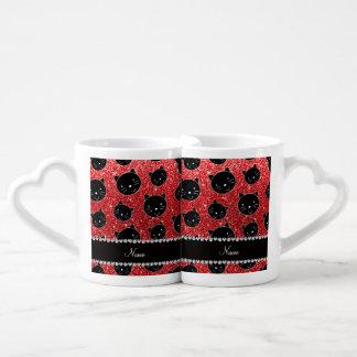 Custom name red glitter black cat faces couples mug