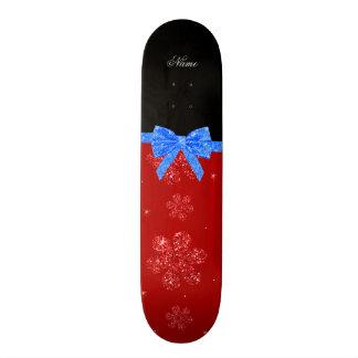 Custom name red glitter flowers blue bow skateboard deck